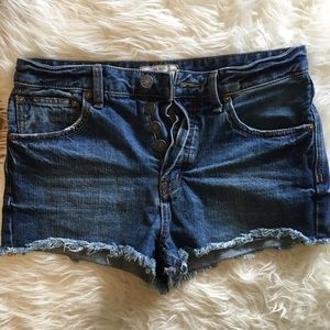 Free People High Rise Button Fly Cut Offs